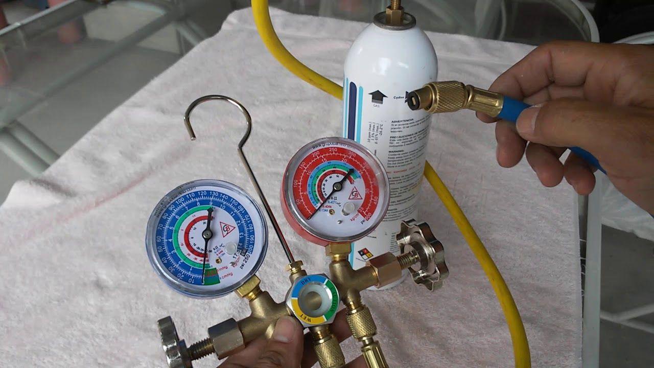 Como Conectar La Lata De Gas Refrigerante A Los Manometros Y Carga Aire Acondicionado Manómetro Aire Acondicionado Auto