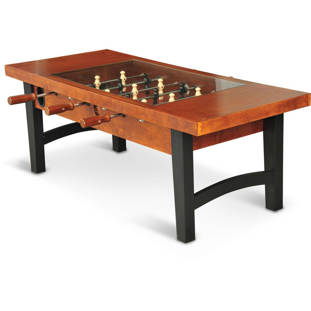 Foosball Soccer Coffee Table Tempered Glass Living Room Game
