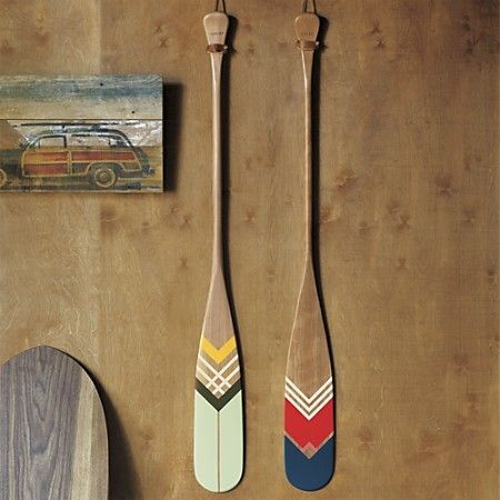 artisan green canoe paddle in wall décor | CB2