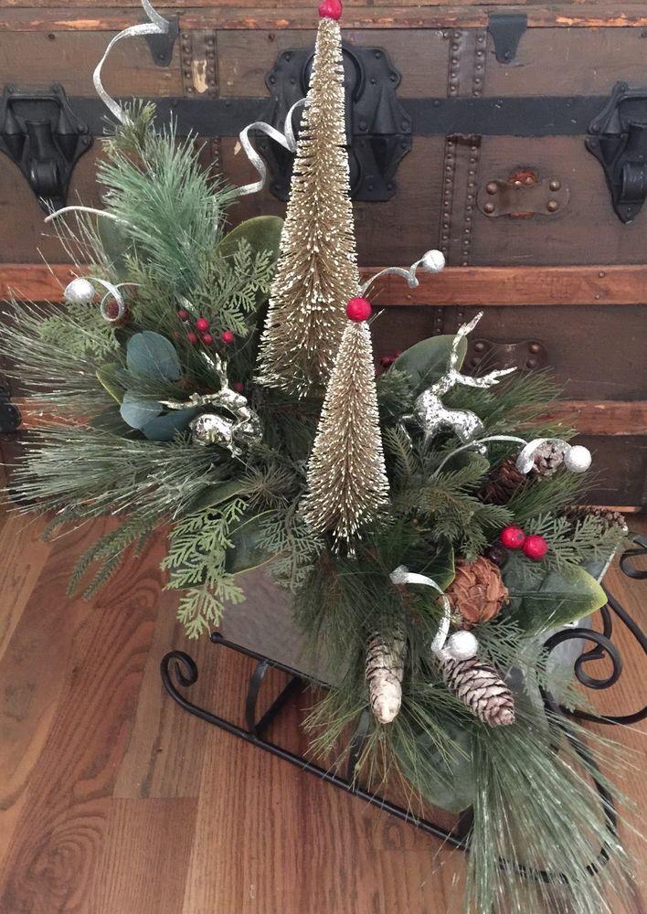 Christmas Farmhouse Metal Sleigh Deer Tree Table Centerpiece Custom Large Ebay Christmas Christmas Decorations Country Christmas