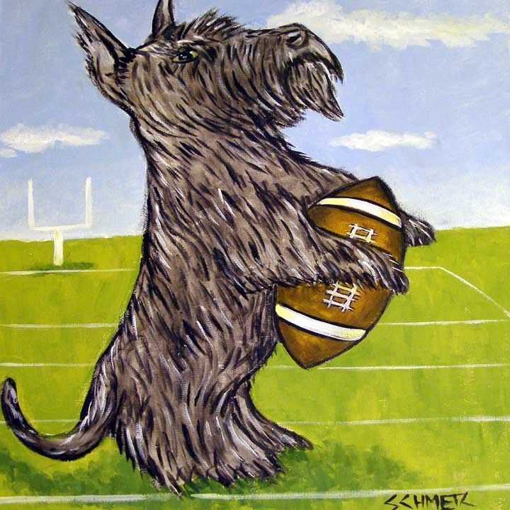 FOOTBALL art scottish terrier dog print on modernTILE coaster gift JSCHMETZ
