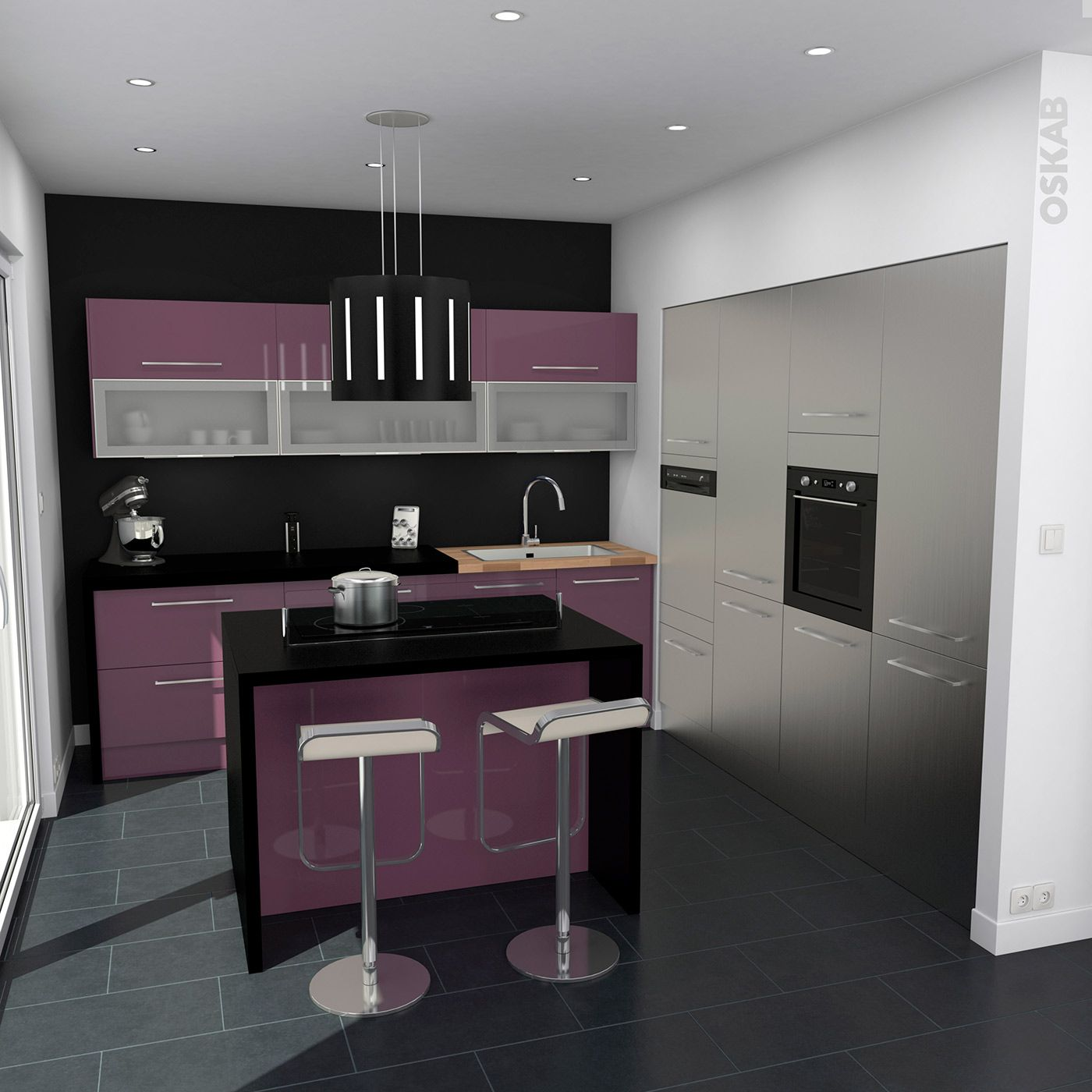 Plan De Travail Avec Jambage cuisine inox et aubergine contemporaine, ilot central snack