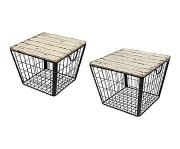 Set de 2 mesas auxiliares en hierro y madera