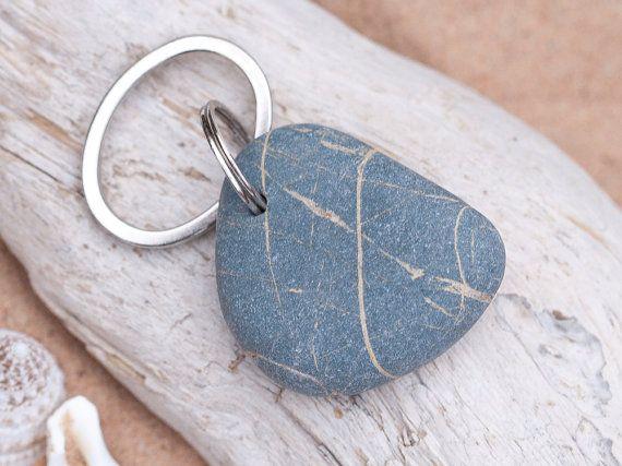 Coastal Beach Pebble Key Chain - Key Ring - Key Fob - 2211