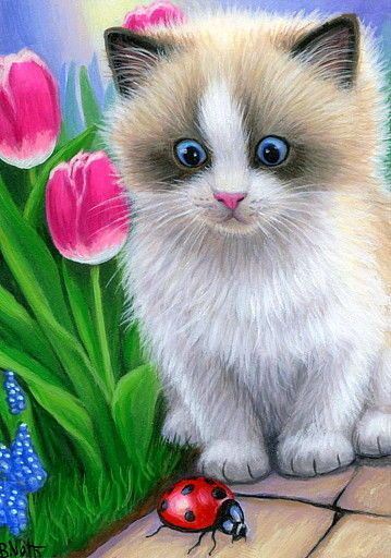ACEO original ragdoll kitten cat ladybug spring garden flowers painting art #Miniature
