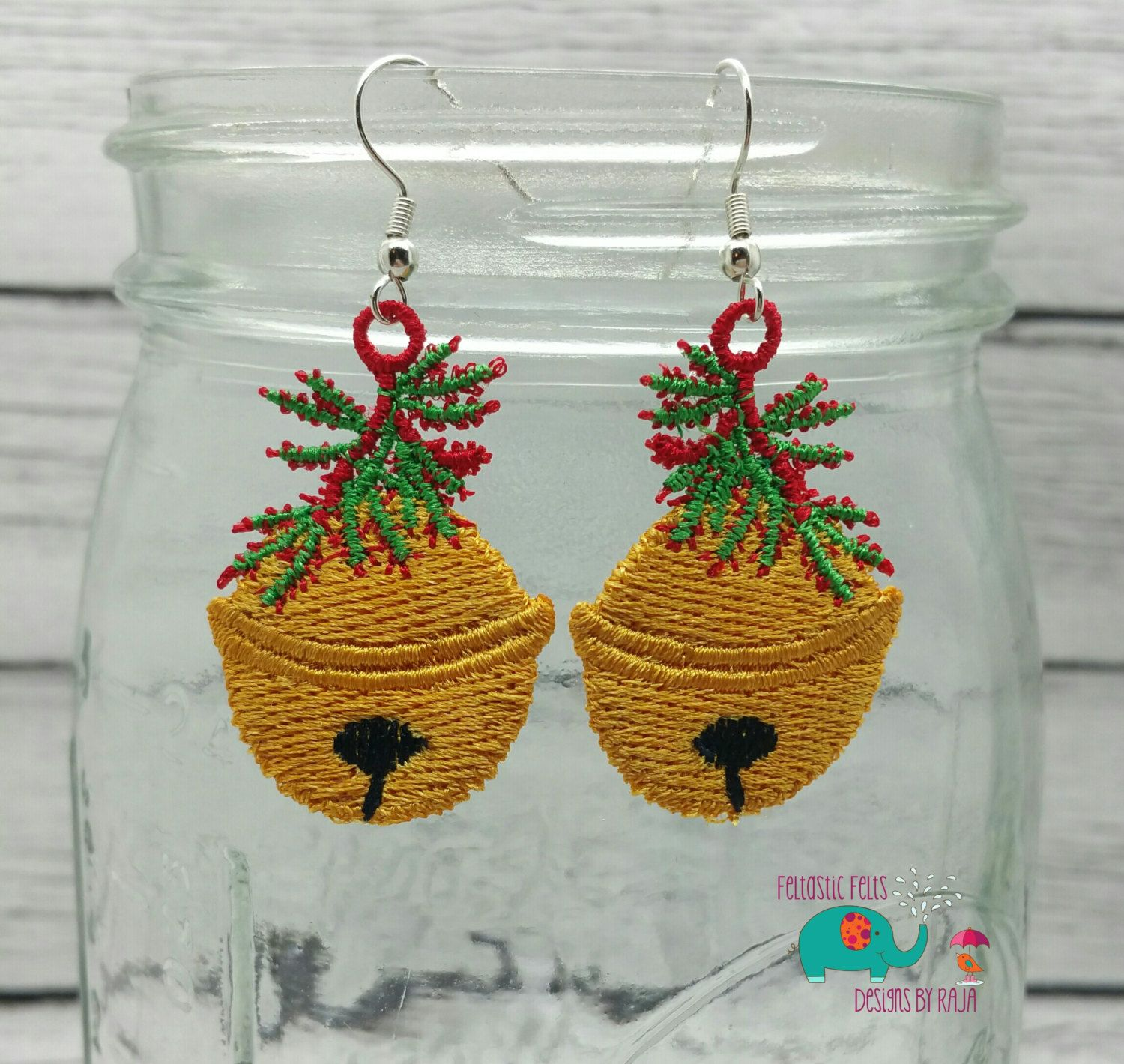 Christmas holly gold bell free standing lace embroidered earrings ...