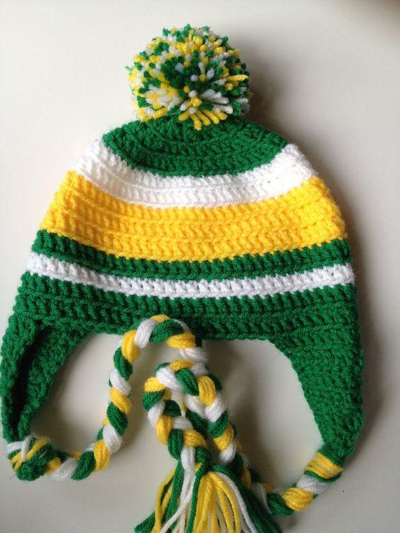 Crocheted Hat with Ear Flaps Braids and Pom Pom by FayesMonkeyHatz ... 0cb609e9034