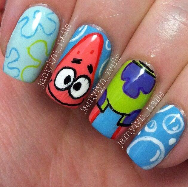 Nails Spongebob Show Patrickstar Nickelodeon Cute Kids Spongebob Nails Crazy Nail Designs Nails