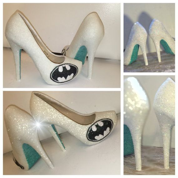 Womens Superhero Batman Ivory Or White Sparkly By SportsCoutureCo