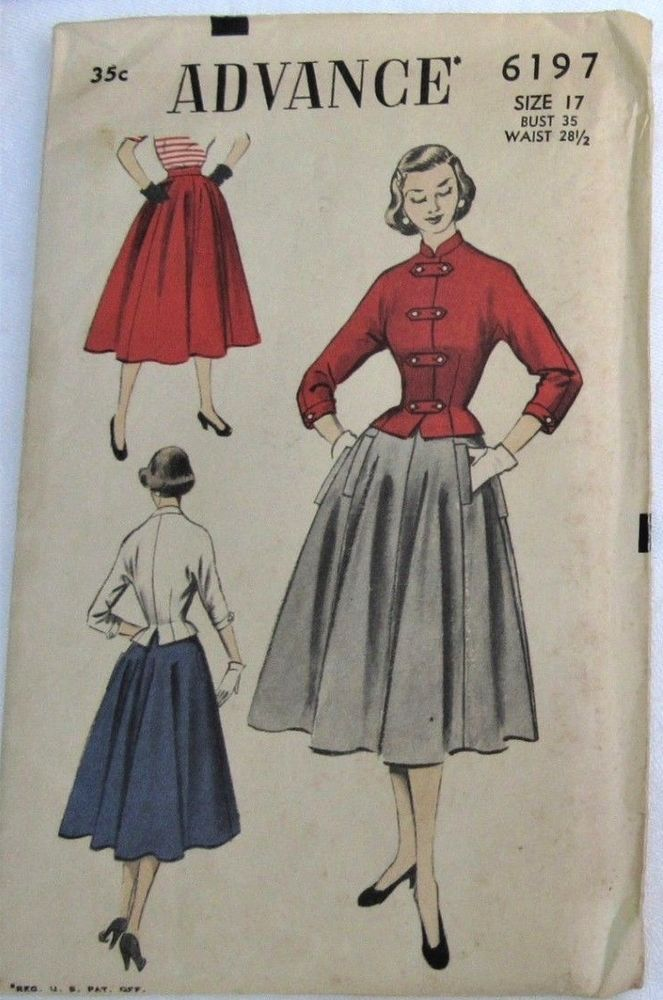 1940s Vintage Advance Sewing Pattern 6197 Misses Skirt And Jacket