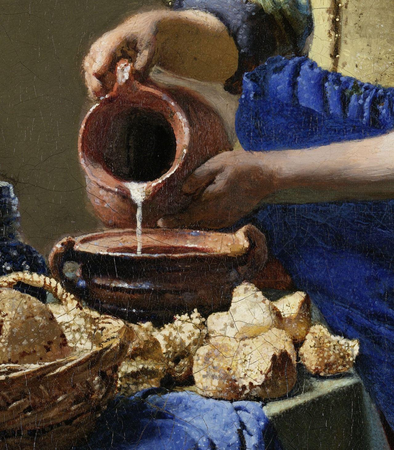 Johannes Vermeer / De Melkmeid (detail) / c 1657-58 | Arte, Manos de mujer  y Barroco