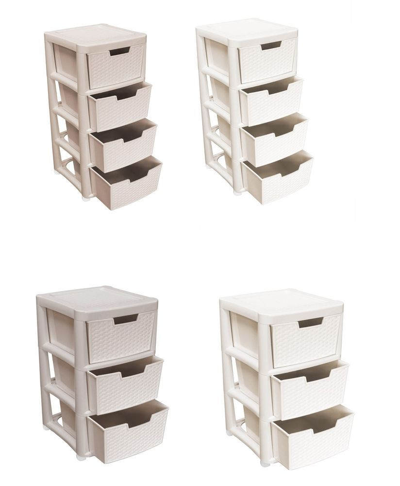 Rattan Style Large 3 / 4 Drawer Tower Plastic Storage Unit Cream Or Mushroom  sc 1 st  Pinterest & Rattan Style Large 3 / 4 Drawer Tower Plastic Storage Unit Cream Or ...
