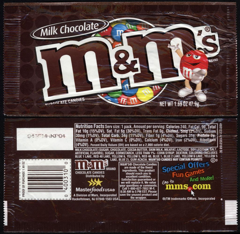 Diy Miniature Doll House Flat Packed Cardboard Kit Mini: M&M's Milk Chocolate Candy Package