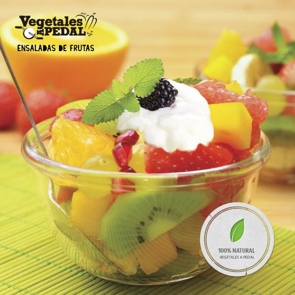 Ensalada de fruta: libre de conservantes o agregados químicos, 100% natural.
