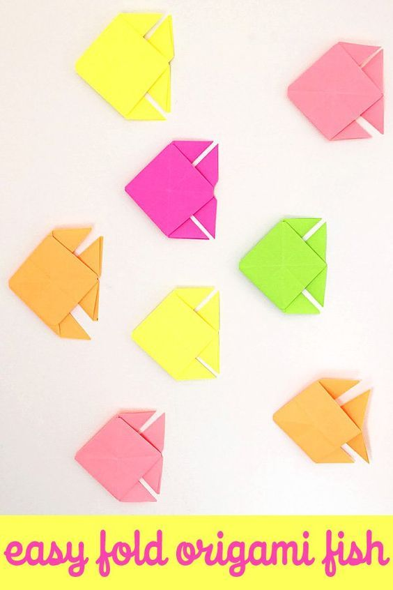 Origami Fish Easy Folding Instructions Kids Crafts Pinterest
