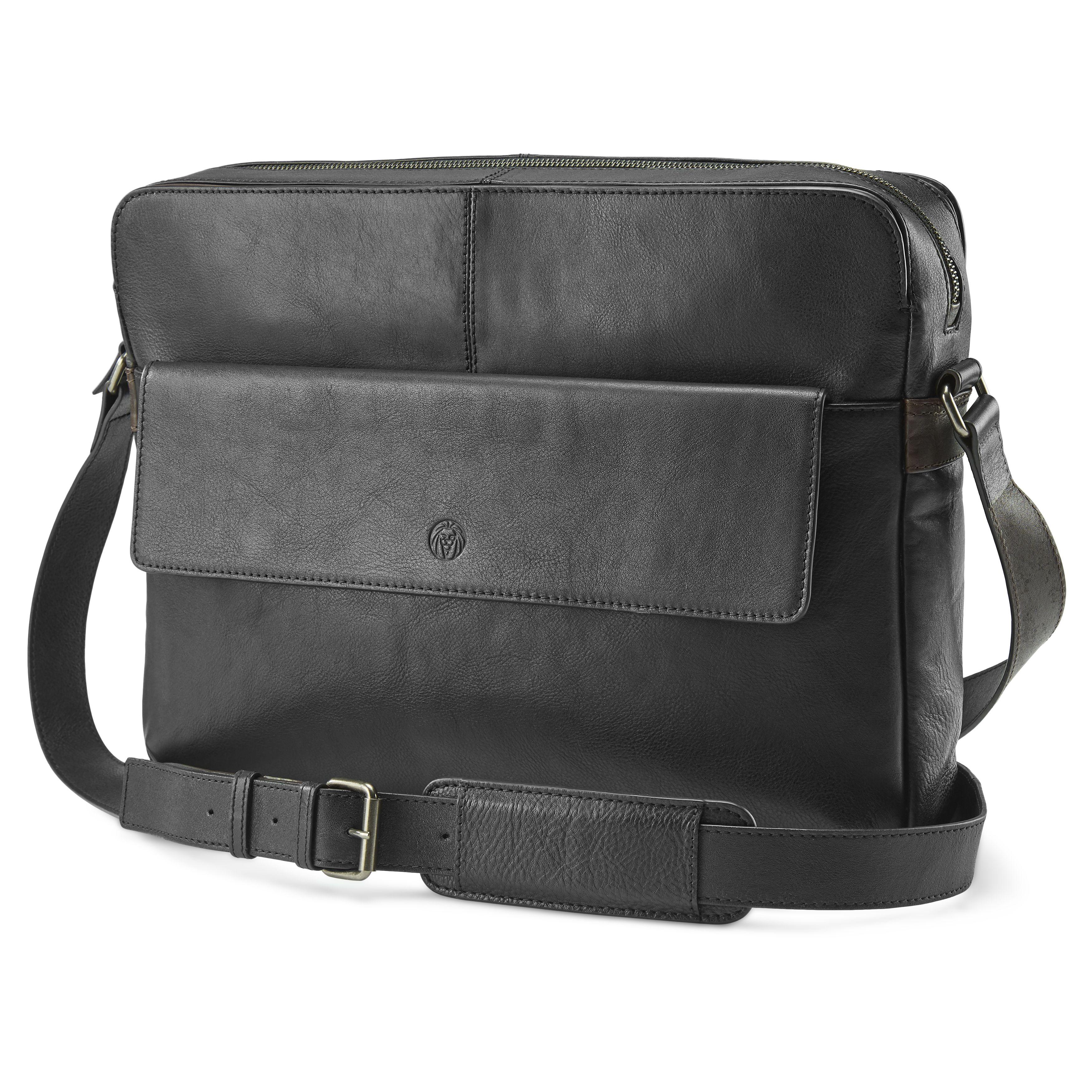 Lavi Black Dark Brown Leather Messenger Bag In 2019 All