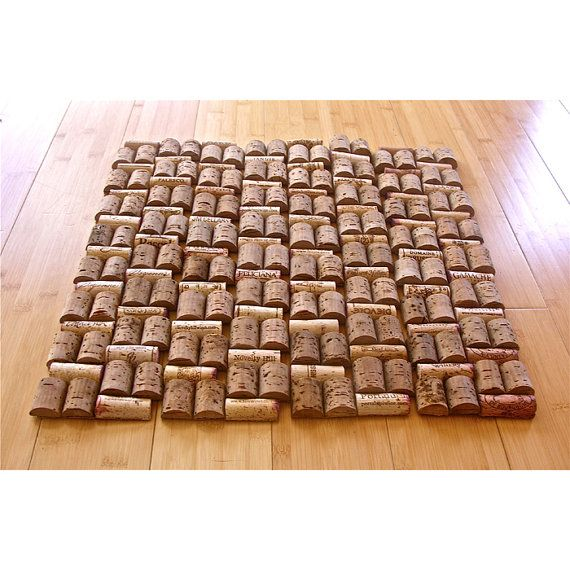 Upcycled wine cork table mat with holepunch by for Wine cork welcome mat