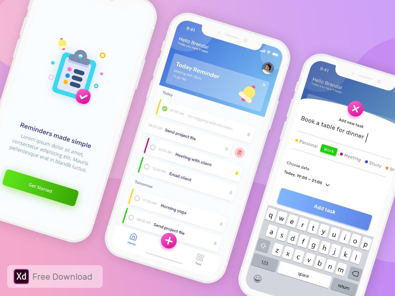To Do List App Freebie App Design App