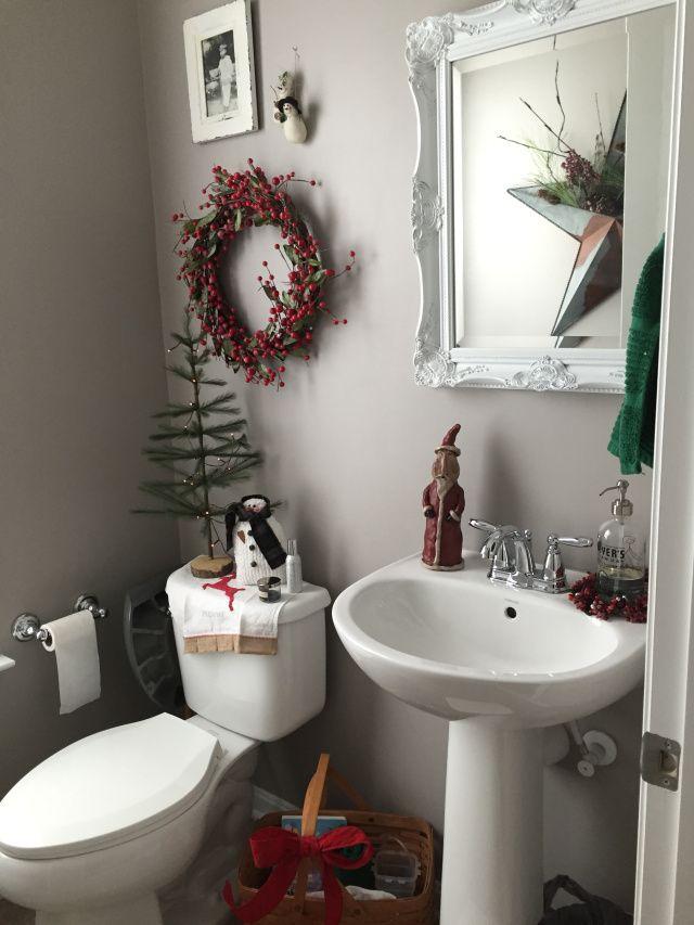 Christmas decor powder room