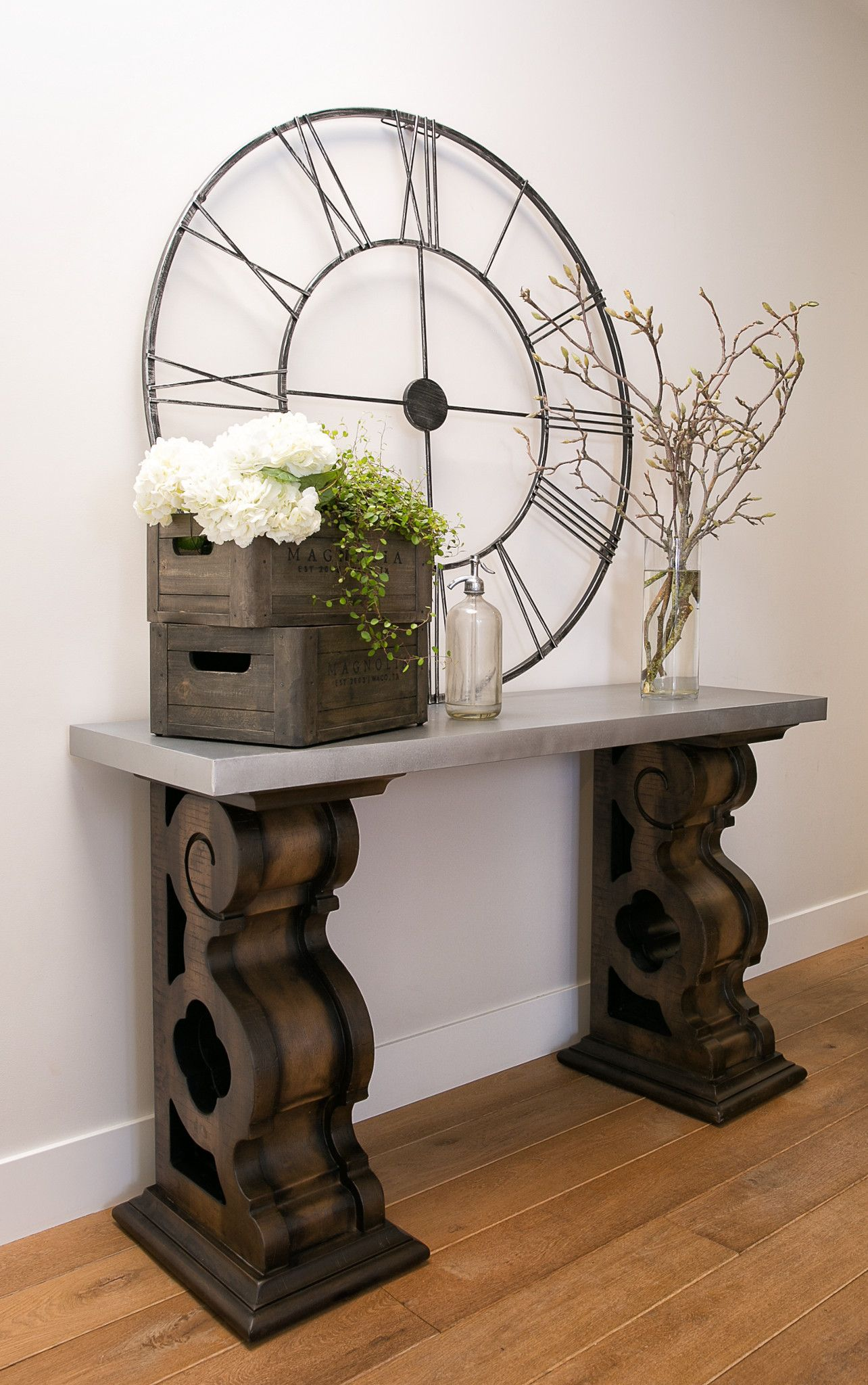 Magnolia Home By Joanna Gaines Double Pedestal Sofa Table With Zinc Top This Console Table Features Massive Corbel Bracket Decor Home Decor Sofa Table Decor