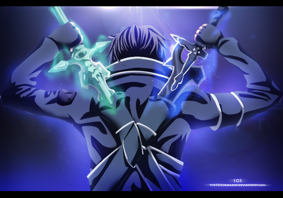 Sword Art Online Kirito Dual By The103orjagrat On Deviantart Sword Art Online Kirito Sword Art Online Wallpaper Sword Art