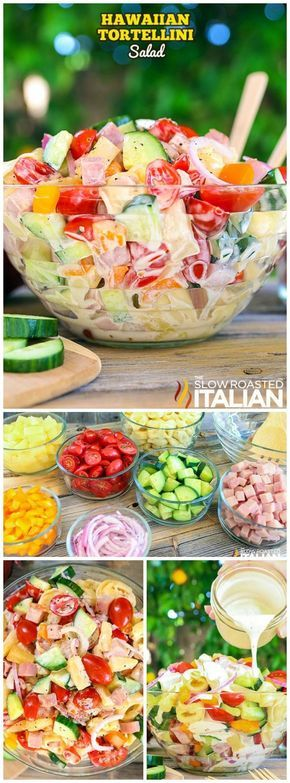This Hawaiian Tortellini Salad from The Slow Roasted Italian is our new favorite recipe! It has the best flavors and ingredients that are combined in a bright, sweet and tangy pasta salad! #hawaiianfoodrecipes