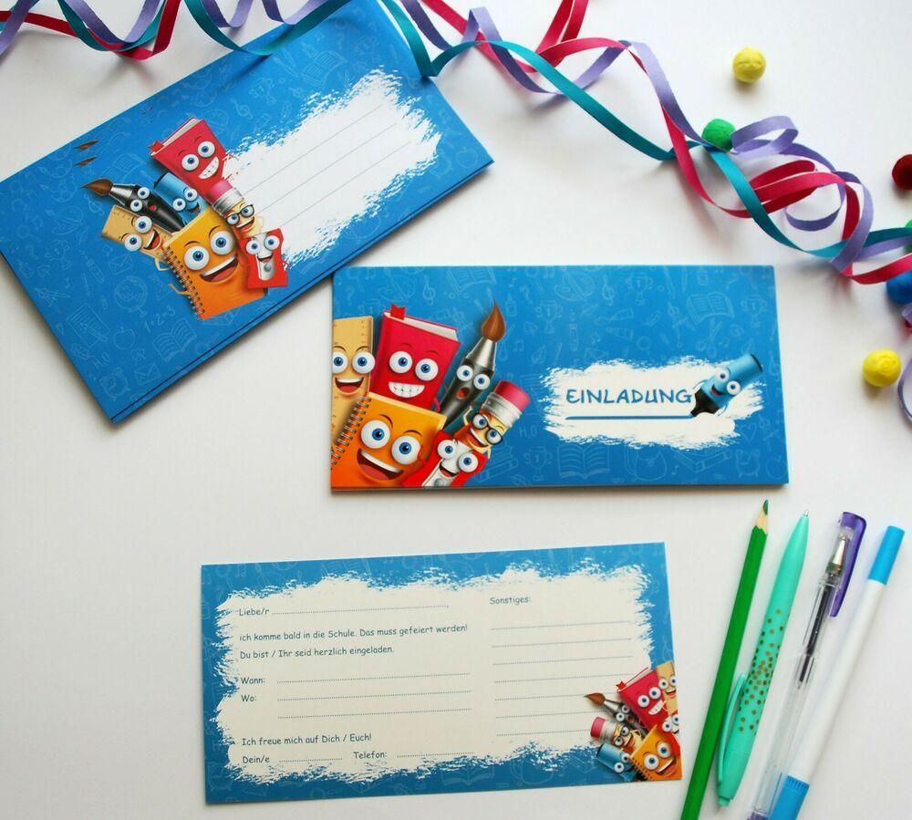 details zu einladungskarten schulanfang mit kuvert