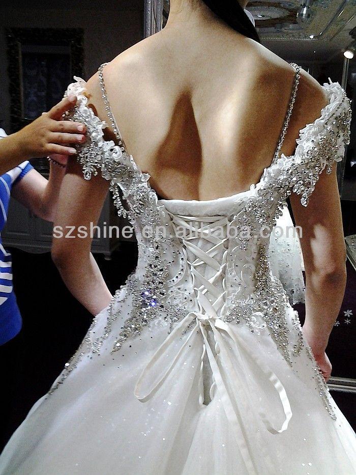 YWD11115 Fabulous heavy beaded cap sleeve cheap muslim bridal ...