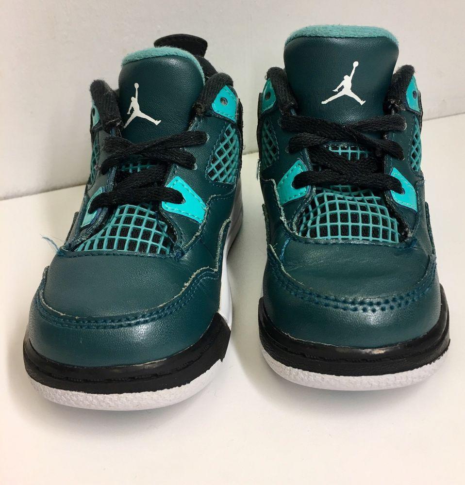 super popular 81120 ed5cd Nike Air Jordan 4 Retro BT Toddler Infant Size 7C 308500 330 Teal Black  White   eBay