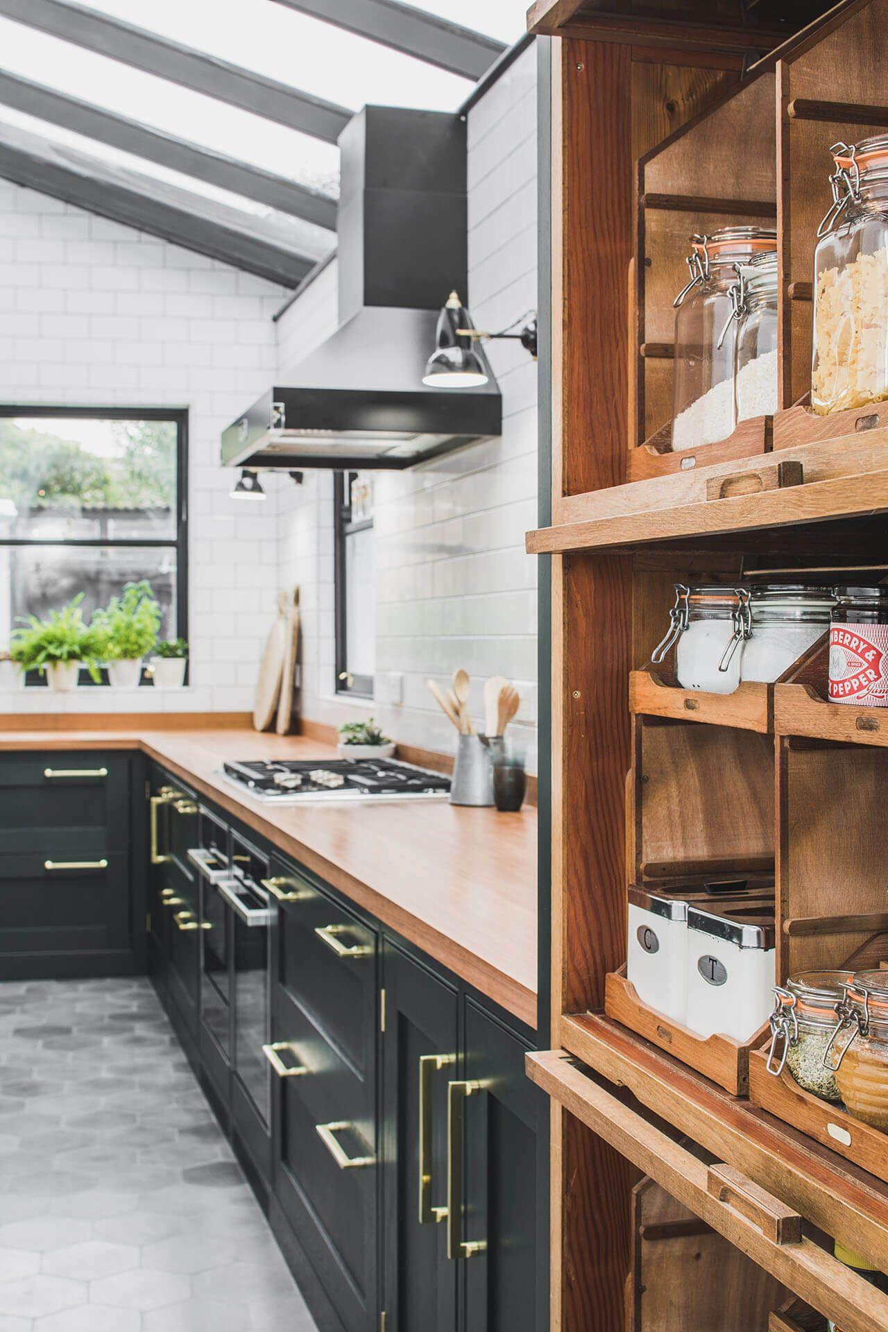 Dark Green Shaker Kitchen Sustainable Kitchens In 2020 Kitchen Room Design Open Plan Kitchen Living Room Sustainable Kitchen
