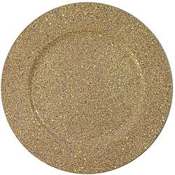 Use this set of Charge It! by Jay gold glitter charger plates to decorate your dining table. This set of chargers features polypropylene construction for durability and the glitter will make your table sparkle.