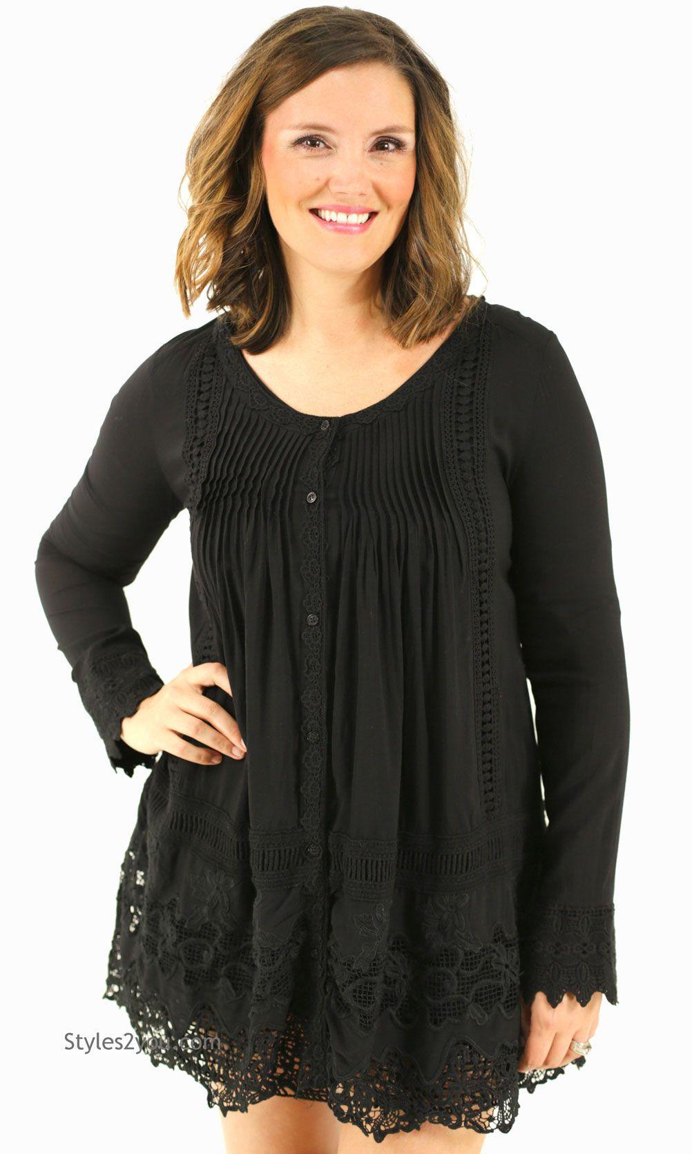 Greta long sleeve crochet lace shirt dress in black monoreno top