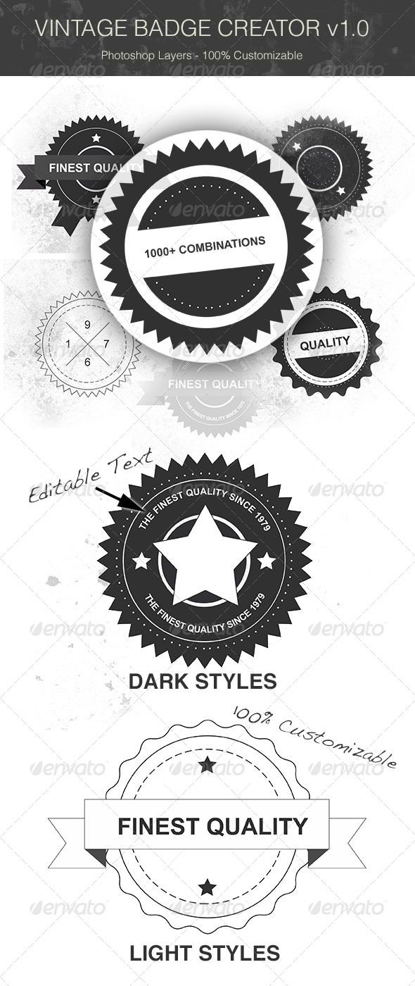 Vintage Badge Creator Badges Sticker Template Pinterest - Badge maker template