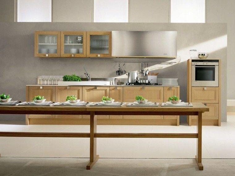diseño cocina mesa larga madera | Diseño cocinas | Pinterest ...