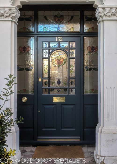 Decorative Edwardian front door painted dark blue