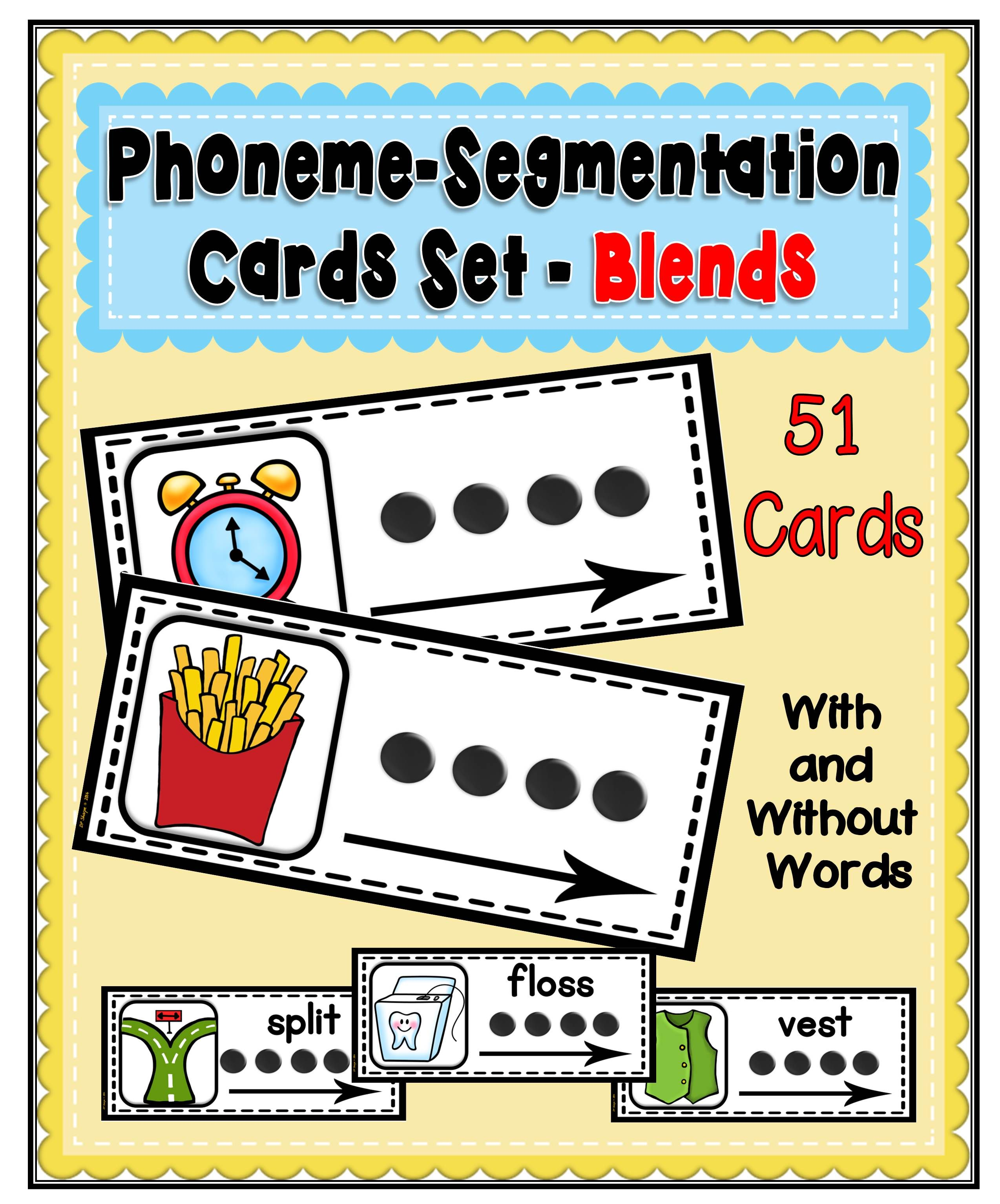 Phoneme Segmentation Card Set Blends