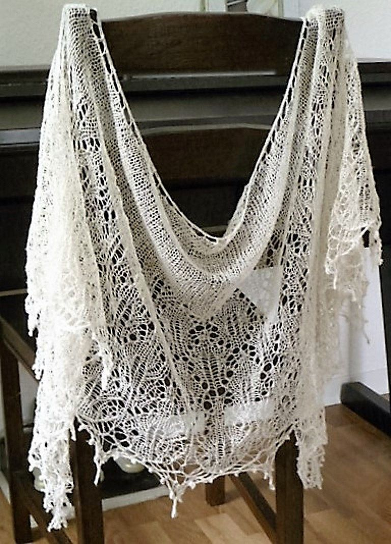 Ivory lace scarf / bridal shawl made of linen hand knitted with ...