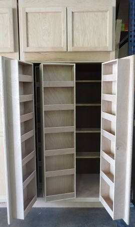 7 Multi Storage Kitchen Pantry In Unfinished Oak Cupboard Design Kitchen Pantry Doors Kitchen Accessories