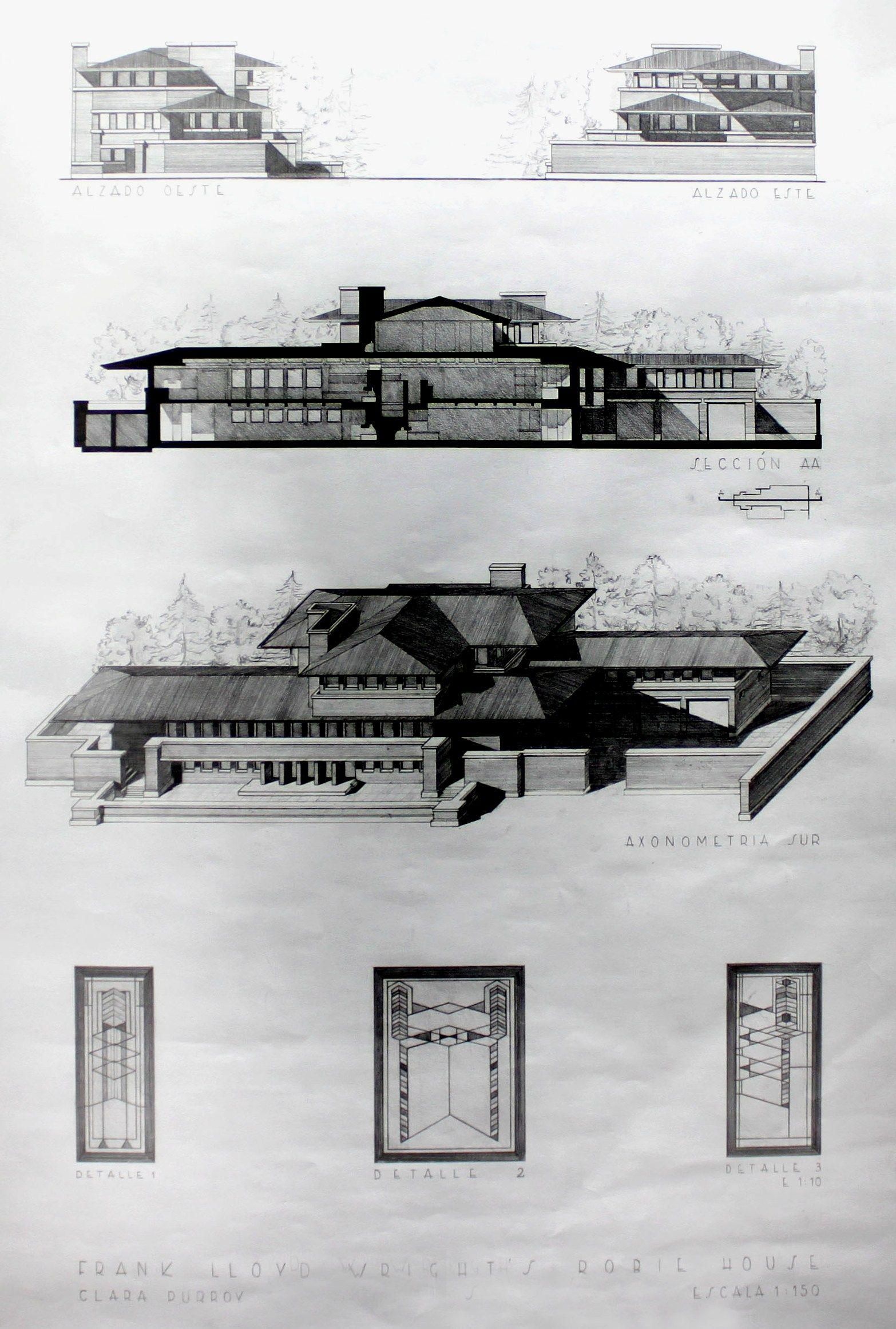 Axonometric sections view drawing robbie house frank lloyd wright 2011 by