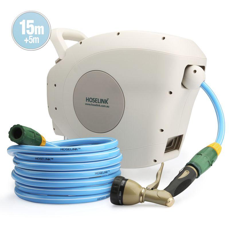 Hoselink Drinking Water Retractable Auto Rewind Garden Hose Reel 15 Metre