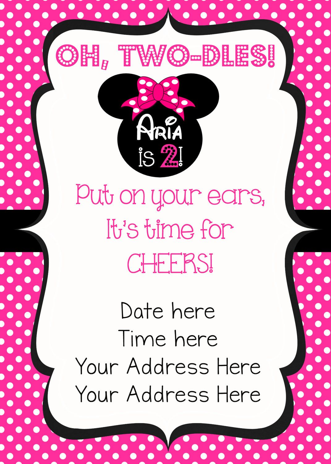 Oh Twodles Minnie Mouse Invitation - Minnie Mouse Birthday ...