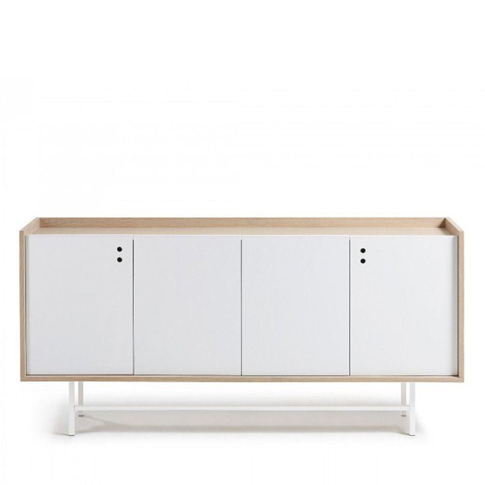 Buffet design scandinave bois blanc mat portes coulissantes x