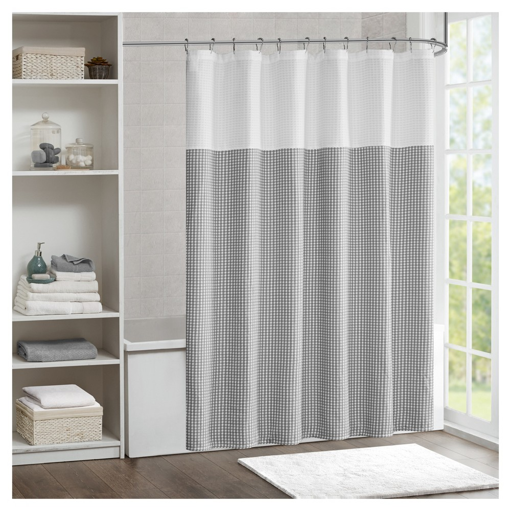 Shower curtain jacquard gray