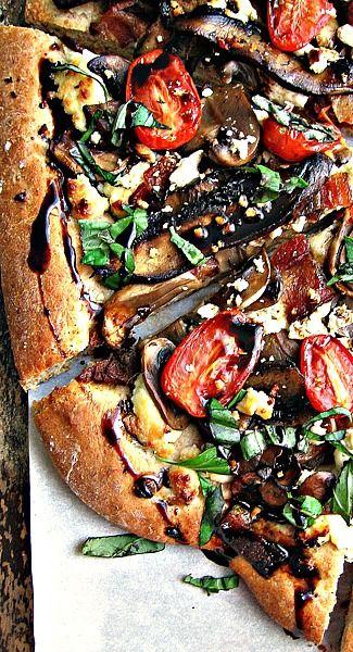 Portobello Mushroom Pizza with Bacon, Feta, and Balsamic
