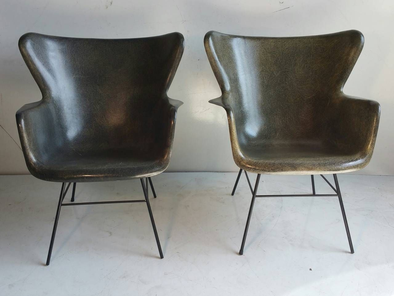 For Sale On   Pair Of Fiberglass And Wire Iron Lounge Chairs, Designed By  George Peabody For Selig, Classic Mid Century Modern, Beautiful Dark Green  Color, ...