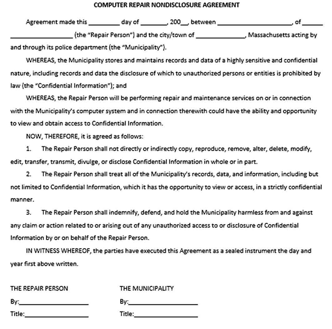 Computer Confidentiality Agreement Template Confidentiality Agreement Template Business Template Computer Repair