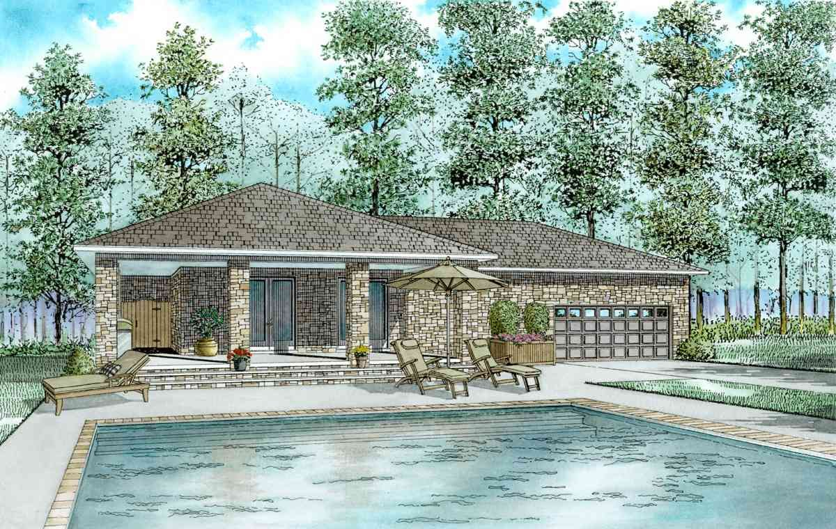 Plan 60660nd Guest House Plan With L Shaped Porch In 2021 Guest House Plans Pool House Designs Pool House Plans