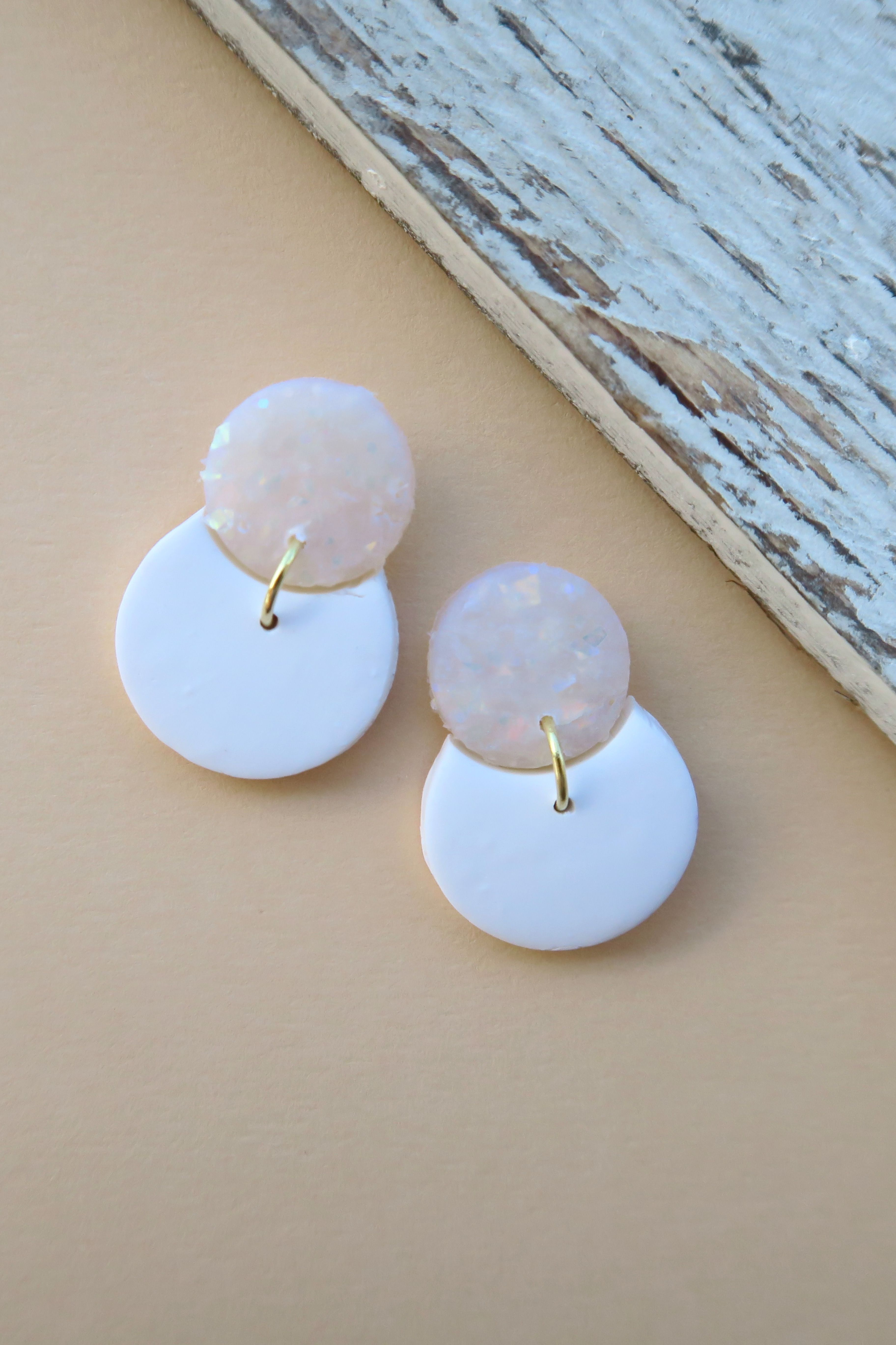 Gold Plated Hardware Handmade Polymer Clay Earring Marble Crescent