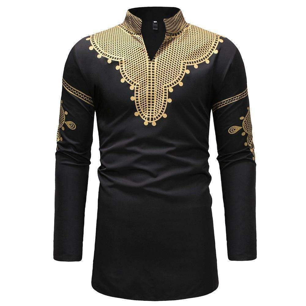 Abetteric Men African V-Neck Dashiki Relaxed Fit FashionMid Long Tees Top