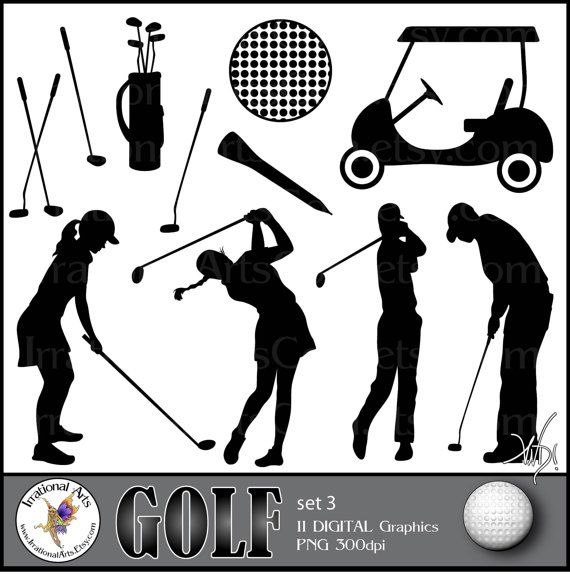 Golf Set 3 Digital Clipart Graphics 11 Png Files Silhouettes Club